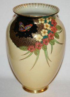 Yellow ground Carltonware vase butterflies