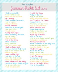 Crazy Teenage Bucket List Ideas | summer bucket list 2013 copy