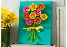 Flower canvas made with an egg carton.