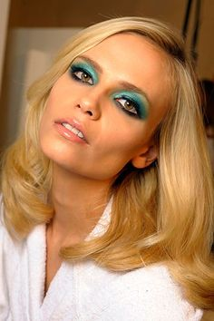 70's. eye makeup, natasha poly, hair