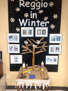 Winter Reggio inspired display in the LCCC Teacher Education resource lab