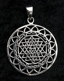 Pendentif Mandala Geométrie sacrée -Shri Yantra-Argent 925