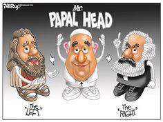 Mr PAPAL HEAD © Bill Day,Cagle Cartoons,Pope, Jesus, Marx, lett, right
