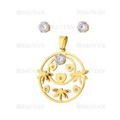 juego colgante y aretes de libelula con cristal en acero dorado inoxidable -SSSTG1074320