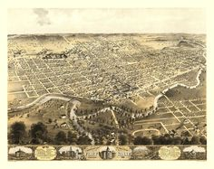 Old Map of Fort Wayne Indiana 1868 Allen County Poster