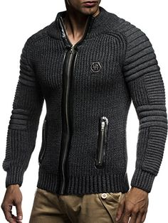 Leif Nelson Men's Cardigan Pullover Jacket Hoodie with Nieten Sweatshirt Biker-Style Quilted Shawl Collar Bodybuilding T Shirts, Bodybuilding Clothing, Winter Outfits Men, Stylish Mens Outfits, Leif Nelson, Men's Business Outfits, African Shirts For Men, Mens Outdoor Jackets, Biker Style