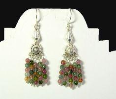 Tourmaline jewelry,watermelon tourmaline jewelry,tourmaline earrings,sterling silver earrings,chandelier earrings,watermelon turmaline