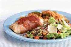 Kabeljauw in Parmaham met Italiaanse salade