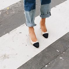Wildfox boyfriend jeans with Chanel classic two tone slingback heels, seen during Paris Fashion Week, Spring 2016 RTW, October 2015.