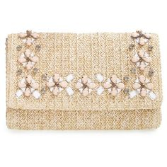 Glint Embellished Straw Clutch (€44) ❤ liked on Polyvore featuring bags, handbags, clutches, purses, accessories, bolsas, natural, embellished handbags, chain strap purse and man bag