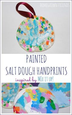 Painted Salt Dough Handprints inspired by Hervé Tullet's Mix It Up!