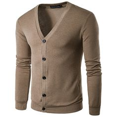 s Button Up Knit Slim Long Sleeve Solid Color Casual Cardigan ($21) ❤ liked on Polyvore featuring men's fashion, men's clothing, men's sweaters, mens short sleeve sweater, mens v neck cardigan sweater, mens v neck sweater, mens collared sweater and mens knit sweater