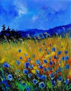 """""""Corn Flowers by Pol Ledent [Oil, Painting] Fantastic use of color! About the Artist: Pol Ledent born in Belgium, 23 October 1952 - started painting in 1989 - living in Houyet Belgium Wow Art, Landscape Art, Landscape Paintings, Landscape Glass, Landscape Timbers, Landscape Design, Painting Inspiration, Amazing Art, Saatchi Art"""
