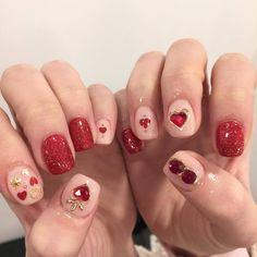 by hollin_nail_shop (IG) Minimalist Nails, Diy Nails, Cute Nails, Korean Nail Art, Soft Nails, Kawaii Nails, Diy Nail Designs, Pretty Nail Art, Heart Nails
