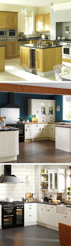 Country kitchens create a cosy feel and really turn the kitchen in to the hub of the home. Use Metro tiles, modern lighting and on-trend bold paint colours to steer the look away from 70's chic to modern and welcoming.