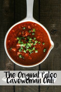 The Original Paleo Cavewoman Chili recipe - this is a great crock pot/slow cooker recipe for those nights when you want something easy but still healthy and delicious!