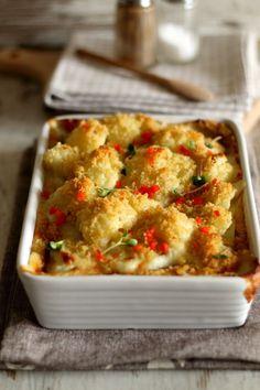 Zapiekany kalafior z sosem serowym - Thermomix Przepisy Mashed Potatoes, Macaroni And Cheese, Recipies, Vegan, Cooking, Ethnic Recipes, Impreza, Food, Thermomix