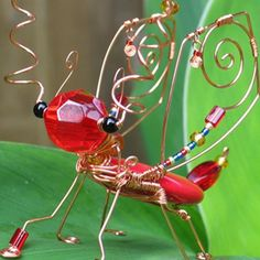 Beaded bugs | BUGS Red Turquoise Wire Wrapped, Beaded Insect - SCARLET