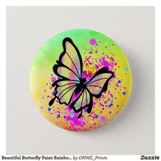 Shop Beautiful Butterfly Paint Rainbow Splash Fun Button created by ONME_Prints. Bird Painting Acrylic, Neon Painting, Butterfly Painting, Butterfly Wallpaper, Painting Flowers, Pebble Painting, Pebble Art, Rock Painting Patterns, Rock Painting Ideas Easy