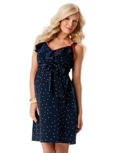 Sleeveless Ruffle Front Maternity Dress