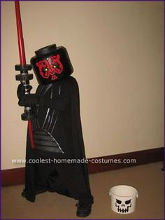 Homemade Lego Darth Maul Minifig Costume: I wanted a unique costume for my this year. I came across the idea of a Lego Minifig costume and opted for the Darth Maul model instead of your Homemade Costumes, Diy Costumes, Halloween Costumes, Star Wars Halloween, Halloween 2014, Halloween Ideas, Darth Maul Costume, Gorilla Mask, Unique Costumes