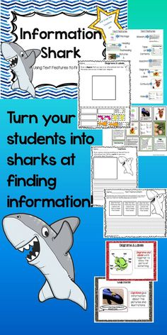 $ Do you want your students to be sharks at finding information? You need to add grade appropriate informational text, print, and teach. These activities can be used as a unit or one piece at a time. They can be used multiple times throughout the school year. I use them for whole group instruction in the beginning of the year, but by January they make a great literacy center.