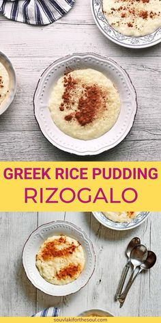 Recipe For Greek Rice, Best Rice Pudding Recipe, Greek Rice Pudding, Pudding Recipes, Yummy Recipes, Greek Sweets, Greek Desserts, Greek Recipes, Desert Recipes