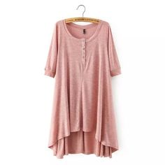Long Sleeve Vintage Tunic-Light Pink - Simply BKC