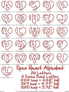 Open heart alphabet lettering (originally found on Etsy)–just in time for Valentine's day!Open Heart Applique Alphabet 26 Letters 3 by allthingsappliqueDiscover thousands of images about creative hand lettering alphabets Part time Paint Nite arti Hand Lettering Alphabet, Doodle Lettering, Lettering Styles, Calligraphy Letters, Alphabet Fonts, Doodle Alphabet, Alphabet Crafts, Alphabet Letters, Letter Art