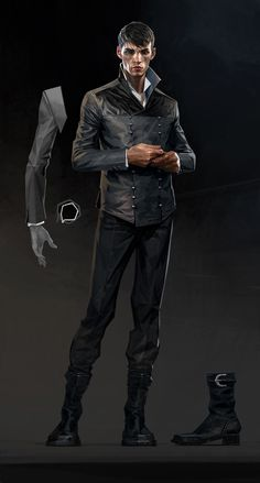 "Dishonored 2 Concept Art // ""Just as we brought our expertise to the new characters in Dishonored 2, we also did a pass on the returning figures like the Outsider. Here you can see the silhouette is now more balanced, and some details have been slightly redesigned."""