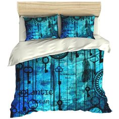 Steam Punk Bedding Comforter Cover Duvet Cover Ocean Watch Map Blues ($119) ❤ liked on Polyvore featuring home, bed & bath, bedding, duvet covers, grey, home & living, blue bedding, blue gray bedding, grey duvet and gray duvet set
