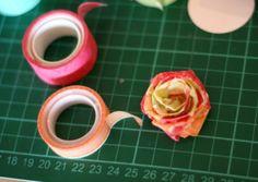 paper roses, flower tutorial, washi tape flowers, craft studios, american crafts, masking tape, mask tape
