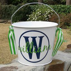 Personalized Bucket  5 quart  WHITE by happythoughtsgifts