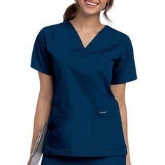 Landau Women's V Neck Tunic Scrub Top, Blue