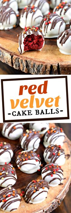 Red Velvet Cake Balls recipe with cream cheese frosting, dunked in sweet white chocolate are the perfect Fall treat! A great idea for a party dessert buffet or a DIY hostess gift. Mini Desserts, Christmas Desserts, Easy Desserts, Delicious Desserts, Yummy Food, Baking Desserts, Christmas Treats, Christmas Recipes, Weight Watcher Desserts