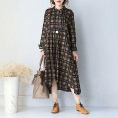 Women cotton linen long sleeve retro V neck dress