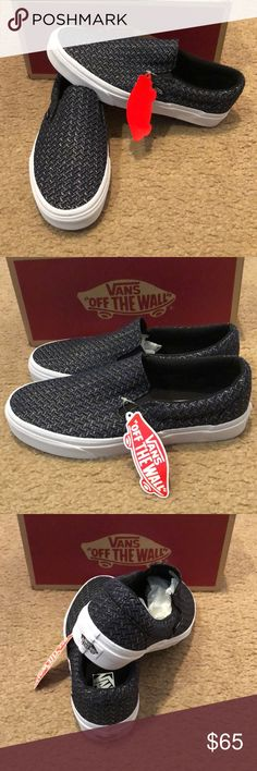 Italian Weave Classic Slip On Vans New in box. Chevron/ true white Vans Shoes Sneakers