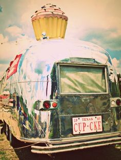 """Hey Cupcake...This a real camper converted into a cupcake """"shop"""" located on South Congress (SOCO) in Austin, Texas.  It's among the street food drag."""