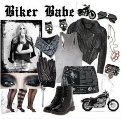 A tough, black biker look for Halloween that you can put together yourself! Edgy Outfits, Biker Outfits, New Outfits, Cute Outfits, Biker Girl Costume, Girl Costumes, Biker Chick Outfit, Lady Biker, Biker Style