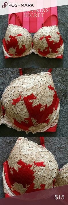 Victoria's Secret Lace Push-Up Bra 34D Push-up, Padded, & Wired. Does not come with the VS bag. This is a used item listing. As with most used items, please expect signs of normal wear. However, I do the best I can to show any flaws in the photos. ---  YES I consider offers. Offers are welcome on single items and on bundles. I provide a discount on bundles as well. I no longer discuss prices in the comments. Offers will only be considered via the offer button. ---- NO Trades - NO Holds - NO…