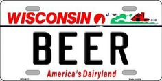 Beer Wisconsin Background Novelty Metal License Plate