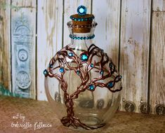 Such a Pretty Mess: Metal and Glass OTP Project {Bo Bunny Pearlescents and Jewels} Old Wine Bottles, Recycled Wine Bottles, Wine Bottle Art, Potion Bottle, Bottles And Jars, Glass Bottles, Bottle Lamps, Wine Corks, Glue Gun Crafts
