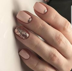 nude nails with gold glitter half moon