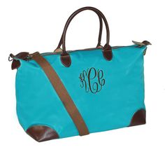 Weekender Tote Bag, Personalized Tote Bag, Weekender Tote Bag, Bridesmaid Tote,Teachers Gift, Aqua Blue Single PocketTote Bag Single Pocket  New trendy tote bag with classic, elegant monogramming as shown  Great tote bag, large enough for an everyday tote. Great bridesmaid gift, teachers gift, coaches gift. Bag is made of durable nylon with zipper and shoulder strap.  Faux leather appointments  1 Zippered Inside Pocket allows for larger monogram on opposite side  Double Handles  Faux…