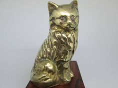Cat | Kitten | Brass Cat | Cat statuette | Cat ornament | Sitting Cat | Solid Brass Cat| Cat Paperweight | Cat Lover | collectible by retromestore. Explore more products on http://retromestore.etsy.com