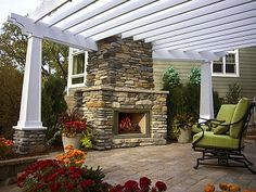 deck with pergola and fireplace - Google Search