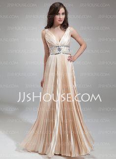Evening Dresses - $146.69 - A-Line/Princess V-neck Floor-Length Charmeuse Evening Dress With Ruffle Beading (017018813) http://jjshouse.com/A-Line-Princess-V-Neck-Floor-Length-Charmeuse-Evening-Dress-With-Ruffle-Beading-017018813-g18813