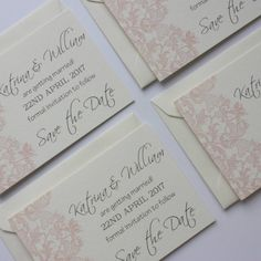 blush pink and grey lace wedding stationery by claryce design | notonthehighstreet.com