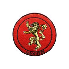 Game of Thrones Patch Lannister Patch Embroidered Movie Iron On Sew On Patches meet you on www.Fleckenworld.com