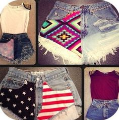 #diy #denim #shorts #americanflag #azteca